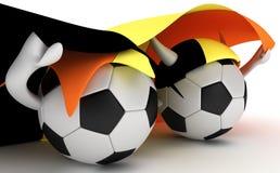 De vlag van de greepBelgië van twee voetbalballen Royalty-vrije Stock Afbeeldingen