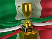 De vlag van de Italiaanse Republiek met gouden kop Royalty-vrije Stock Afbeelding