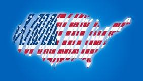 De vlag van de kaart van de getrokken V.S. Stock Fotografie