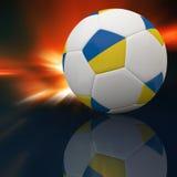 De vlag van de Oekraïne op 3d Voetbal Royalty-vrije Stock Foto's