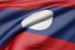 De vlag van de Republiek van Lao People ` s het Democratische golven Stock Foto