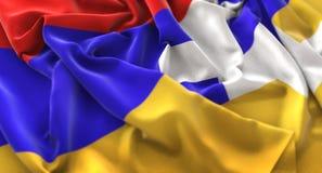 De Vlag van de Republiek van Nagorny Karabach verstoorde prachtig het Golven Macro Stock Fotografie