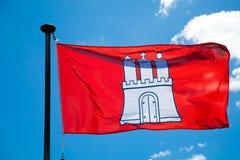 De Vlag van de Stad van Hamburg Royalty-vrije Stock Afbeelding