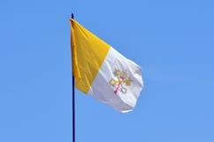 De vlag van de Stad van Vatikaan en Heilig zien in Jeruzalem, Israël Stock Afbeeldingen