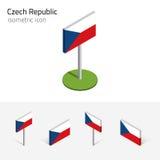 De vlag van de Tsjechische Republiek, vectorreeks, 3D isometrische pictogrammen Royalty-vrije Stock Foto's