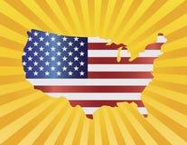 De Vlag van de V.S. in de Illustratie van het Silhouet van de Kaart Stock Foto's