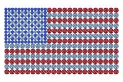 De vlag van de V.S. die uit verschillende kleur wordt samengesteld brilliants Stock Foto's