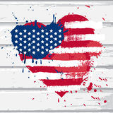 De vlag van de V.S. in hartvorm Stock Foto