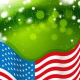 De vlag van de V.S. met groene achtergrond Stock Foto