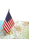 De vlag van de V.S. op de kaart Royalty-vrije Stock Foto