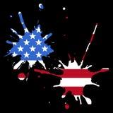 De vlag van de V.S. van kleurrijke plonsen wordt gemaakt die Stock Afbeelding