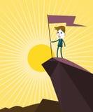 De vlag van de zakenmanholding bovenop berg Winnaar en leidersconcept royalty-vrije illustratie