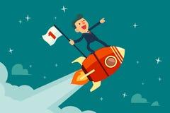 De vlag van de zakenmanholding op vliegende raket Royalty-vrije Stock Afbeeldingen