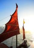 De vlag van de zeilboot in Hongkong Stock Foto