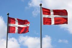 De vlag van Denemarken Stock Foto