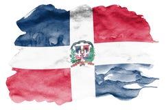 De vlag van de Dominicaanse Republiek wordt in vloeibare die waterverfstijl afgeschilderd op witte achtergrond wordt geïsoleerd vector illustratie