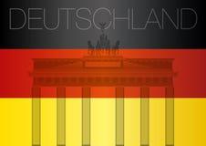 De vlag van Duitsland en de poort van Brandenburg Stock Foto