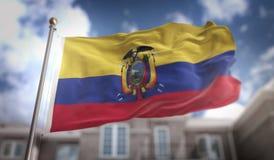 De Vlag van Ecuador het 3D Teruggeven op Blauwe Hemel de Bouwachtergrond Royalty-vrije Stock Foto