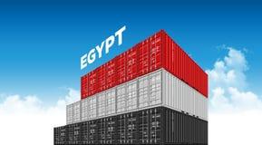 De vlag van Egypte van de verschepende ladingscontainer voor logistiek en vervoer met wolken vector illustratie