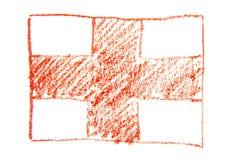 De vlag van Engeland, hand met waterverfpotlood dat wordt geschilderd Het symbool van de staat van Engeland Stock Foto