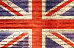 De vlag van Engeland op een bakstenen muur wordt geschilderd die 3D Illustratie Stock Foto