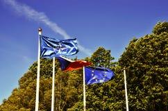 De vlag van de EU, NAVO en de Tsjechische Republiek stock foto