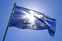 De vlag van Europa in de wind Stock Afbeelding