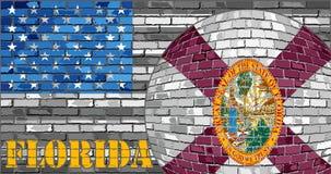 De vlag van Florida op de grijze V.S. markeert achtergrond Stock Fotografie