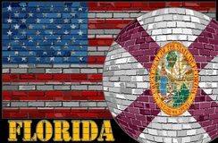 De vlag van Florida op de V.S. markeert achtergrond Stock Foto