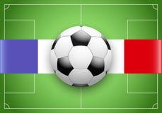 De Vlag van Frankrijk en Kampioenschap van voetbal Stock Foto