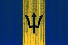 De vlag van gegevensbeschermingbarbados De vlag van Barbados met binaire code Stock Fotografie