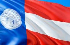 De vlag van Georgië 1920 3D het Golven de V.S. de vlagontwerp van de staat Het nationale symbool van de V.S. van de staat van Geo royalty-vrije stock afbeeldingen
