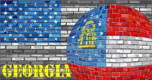 De vlag van Georgië op de grijze V.S. markeert achtergrond Stock Foto