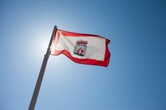 De vlag van Gijón bij het backlighting stock foto's
