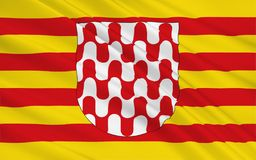 De vlag van Girona is een stad in het noordoosten van Autonome Comm royalty-vrije illustratie