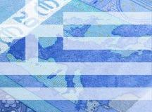 De vlag van Griekenland en euro bankbiljet Royalty-vrije Stock Foto