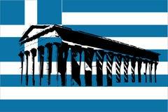 De vlag van Griekenland met Parthenon royalty-vrije illustratie