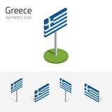 De vlag van Griekenland, vectorreeks 3D isometrische pictogrammen Royalty-vrije Stock Foto