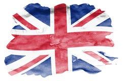 De vlag van Groot-Brittannië wordt in vloeibare die waterverfstijl afgeschilderd op witte achtergrond wordt geïsoleerd vector illustratie