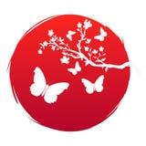 De vlag van de Grungestijl van het art. van Japan Tak met sakurabloemen en het pictogram van de silhouetvlinder op rode zon als a stock illustratie