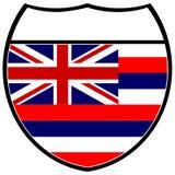 De Vlag van Hawaï in een Teken Tusen staten Stock Foto's