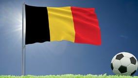 De vlag van het fladderen van België en een voetbal rolt op het gazon, het 3d teruggeven Stock Afbeeldingen