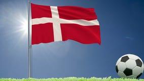 De vlag van het fladderen van Denemarken en een voetbal rolt op het gazon, het 3d teruggeven Stock Fotografie