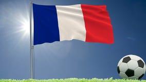 De vlag van het fladderen van Frankrijk en een voetbal rolt op het gazon, het 3d teruggeven Stock Fotografie