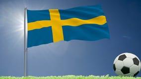 De vlag van het fladderen van Zweden en een voetbal rolt op het gazon, het 3d teruggeven Royalty-vrije Stock Foto