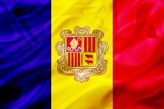 De vlag van het land van Andorra op zijde of zijdeachtige het golven textuur royalty-vrije illustratie