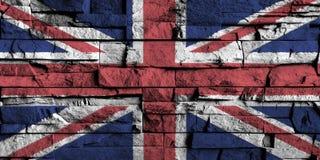 De vlag van het Verenigd Koninkrijk het schilderen op hoog detail van oude bakstenen muur Stock Foto