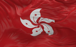 De vlag van Hong Kong die in de 3d wind golven geeft terug Stock Afbeelding