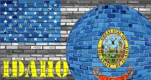 De vlag van Idaho op de grijze V.S. markeert achtergrond Stock Foto's