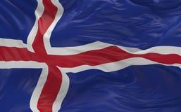De vlag van IJsland die in de 3d wind golven geeft terug Stock Foto's
